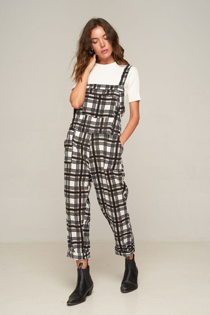Oscar Overall - Black Gold Plaid