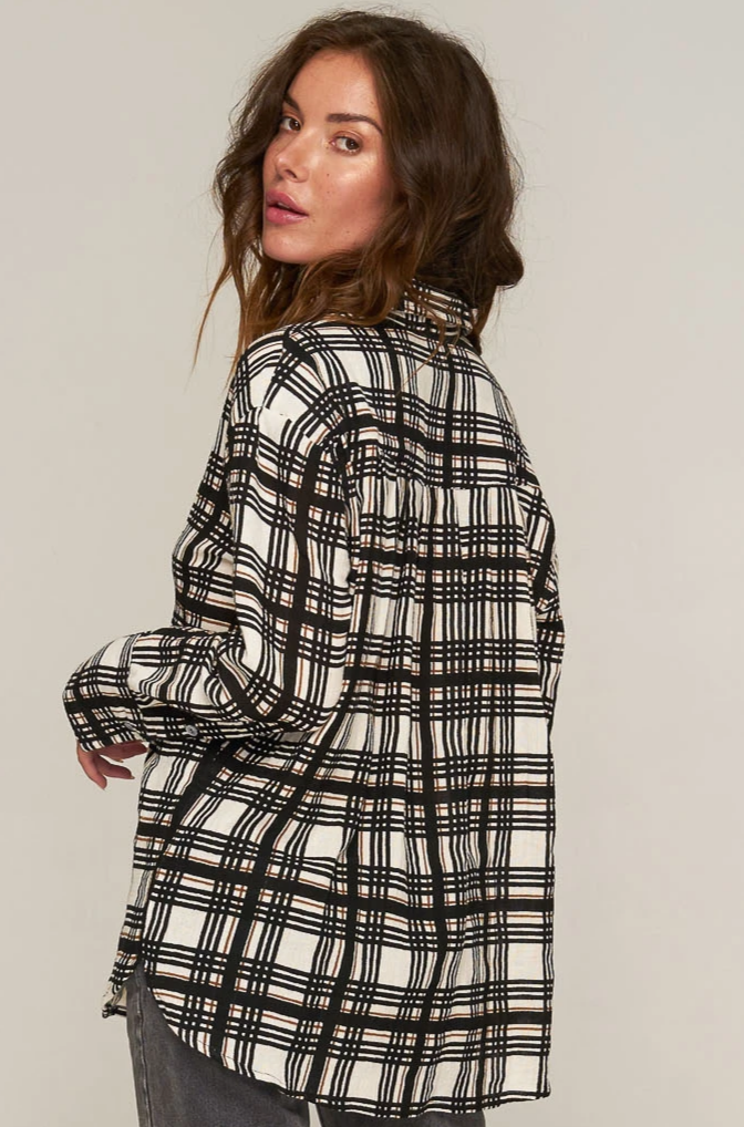 Verde Shirt - Black Gold Plaid
