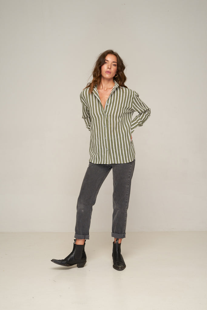 Verde Shirt - Grey Green Stripe