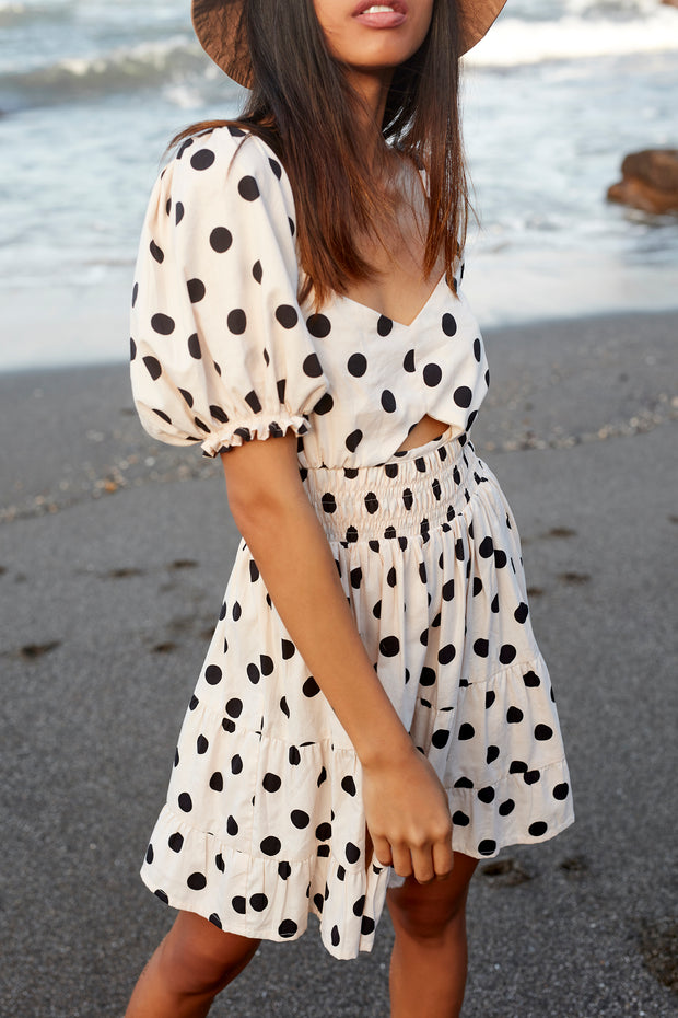 AMARA MINI DRESS - POLKA DOT - IVORY - SAMPLE