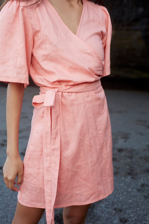SELENA WRAP DRESS - PEACH