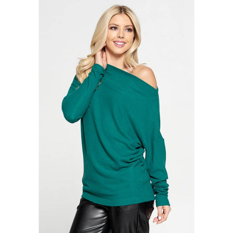 Off the Shoulder Green Sweater