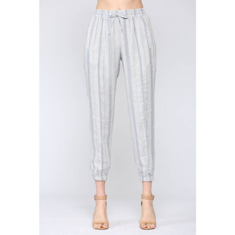 Striped Linen Jogger Pants