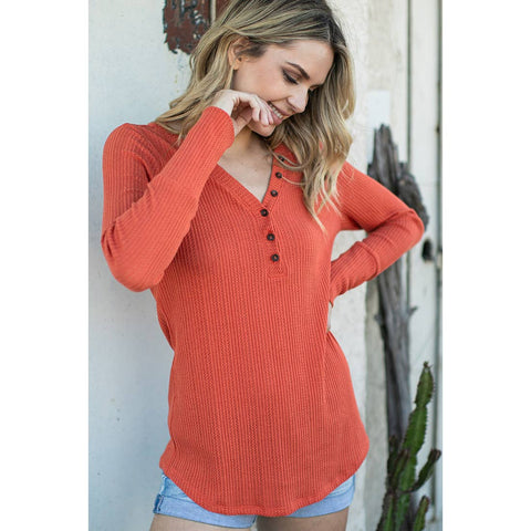 Orange V Neck Textured Shirt
