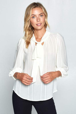 Front Neck Tie Ivory Blouse