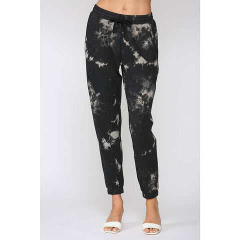 Tie Dye Black/bleach Jogger Pants