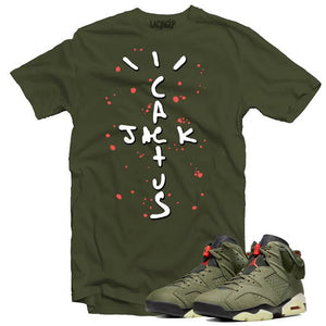 Jordan 6 travis scott cactus jack  army tee-Lacing Up