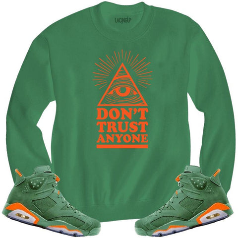 LACING UP-JORDAN 6 GREEN GATORADE DON'T TRUST GREEN CREWNECK SWEATER