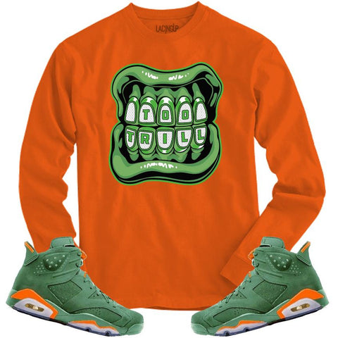 LACING UP-JORDAN 6 GREEN GATORADE TOO TRILL ORANGE LONG SLEEVE