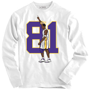 81 points white long sleeve tee-Lacing Up