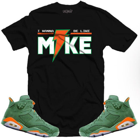 "LACING UP-JORDAN 6 ""GREEN"" GATORADE LIKE MIKE BLACK TEE"