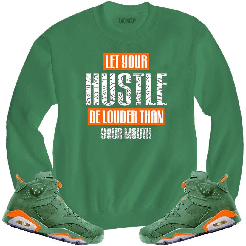 LACING UP-JORDAN 6 GREEN GATORADE HUSTLE GREEN CREWNECK SWEATER