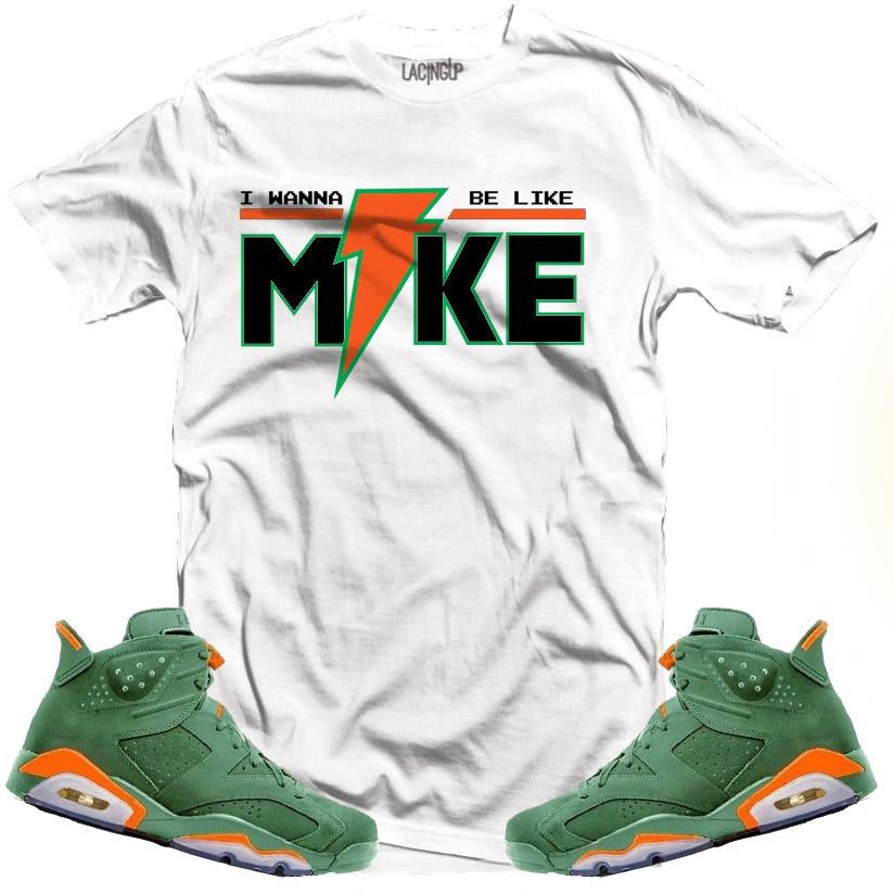 "LACING UP-JORDAN 6 ""GREEN"" GATORADE LIKE MIKE WHITE TEE"