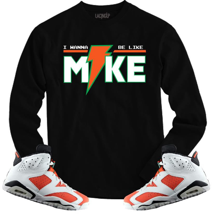 LACING UP-JORDAN 6 GATORADE LIKE MIKE BLACK LONG SLEEVE