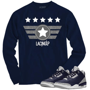 Matching Long Sleeve Navy Tee for Jordan 3 Georgetown-Lacing Wings