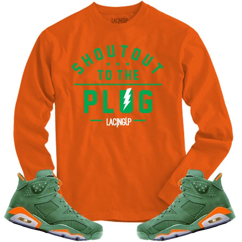 LACING UP-JORDAN 6 GREEN GATORADE PLUG ORANGE LONG SLEEVE