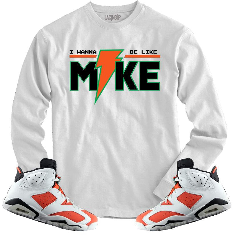 cheap for discount 9718f 5128a LACING UP-JORDAN 6 GATORADE LIKE MIKE WHITE LONG SLEEVE