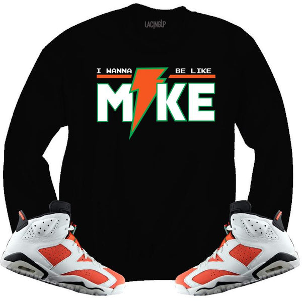 LACING UP-JORDAN 6 GATORADE LIKE MIKE BLACK CREWNECK SWEATER