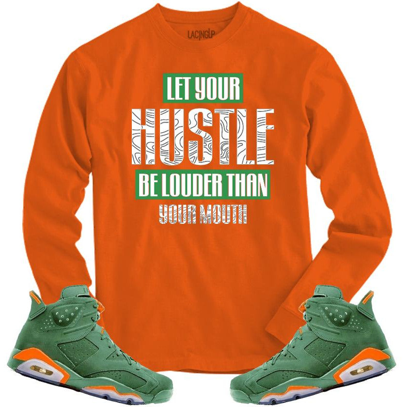 LACING UP-JORDAN 6 GREEN GATORADE HUSTLE ORANGE LONG SLEEVE