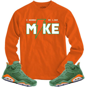 LACING UP-JORDAN 6 GREEN GATORADE LIKE MIKE ORANGE LONG SLEEVE