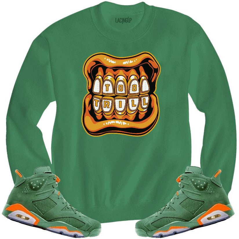 LACING UP-JORDAN 6 GREEN GATORADE TOO TRILL GREEN CREWNECK SWEATER