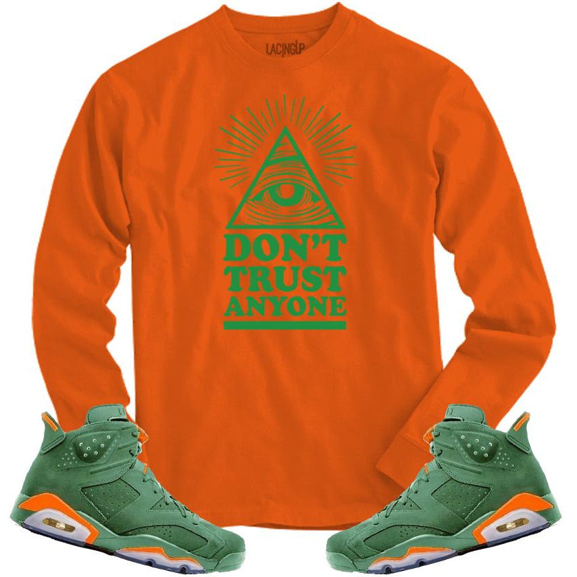 LACING UP-JORDAN 6 GREEN GATORADE DON'T TRUST ORANGE LONG SLEVE