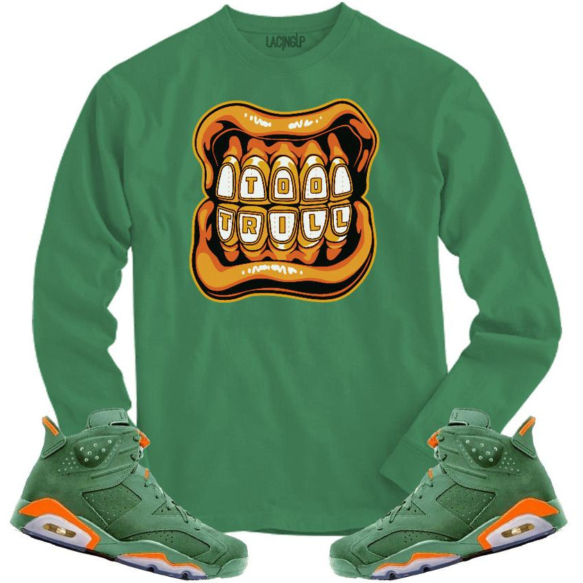 LACING UP-JORDAN 6 GREEN GATORADE TOO TRILL GREEN LONG SLEEVE TEE