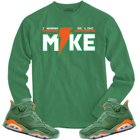 LACING UP-JORDAN 6 GREEN GATORADE LIKE MIKE GREEN LONG SLEEVE