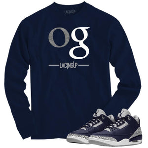 Matching Long Sleeve Navy Tee for Jordan 3 Georgetown-OG