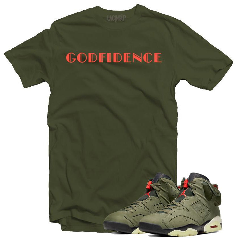 Jordan 6 travis scott godfidence army tee-Lacing Up