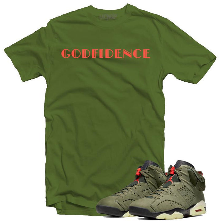 Jordan 6 travis scott godfidence olive tee-Lacing Up