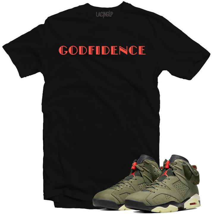Jordan 6 travis scott godfidence black tee-Lacing Up