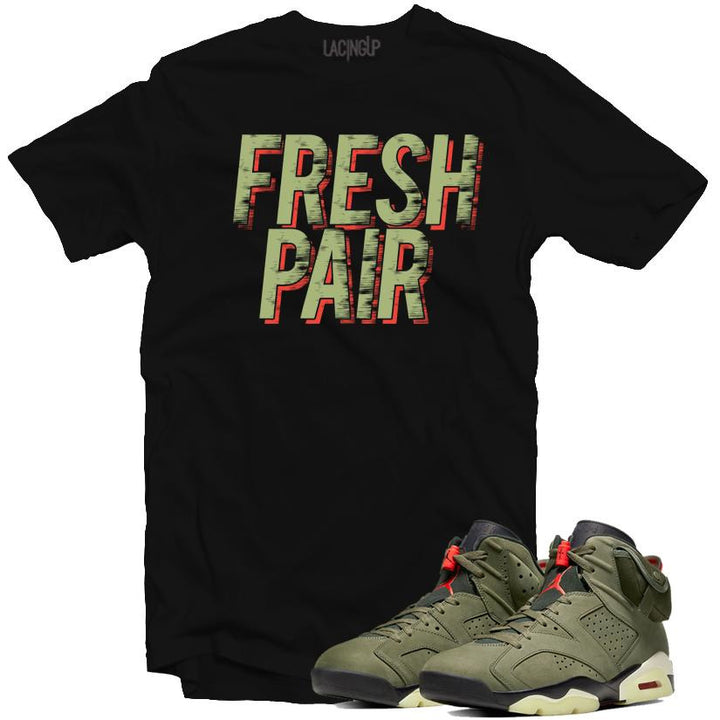 Jordan 6 travis scott fresh pair black tee-Lacing Up