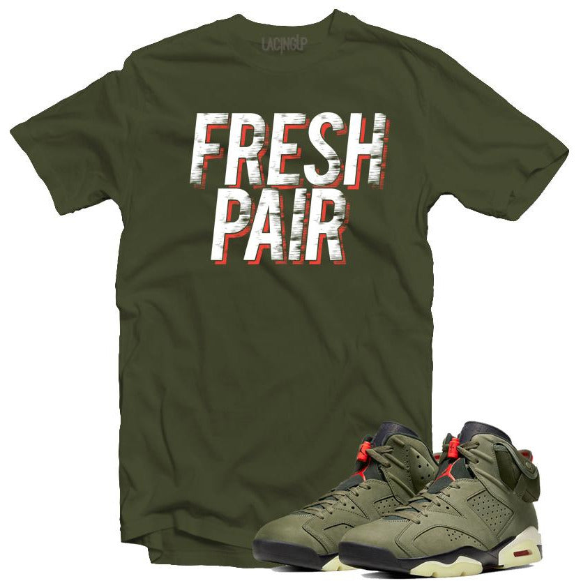 Jordan 6 travis scott fresh pair army tee-Lacing Up
