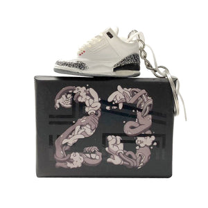 Jordan 3 White Cement Keychain with mini box