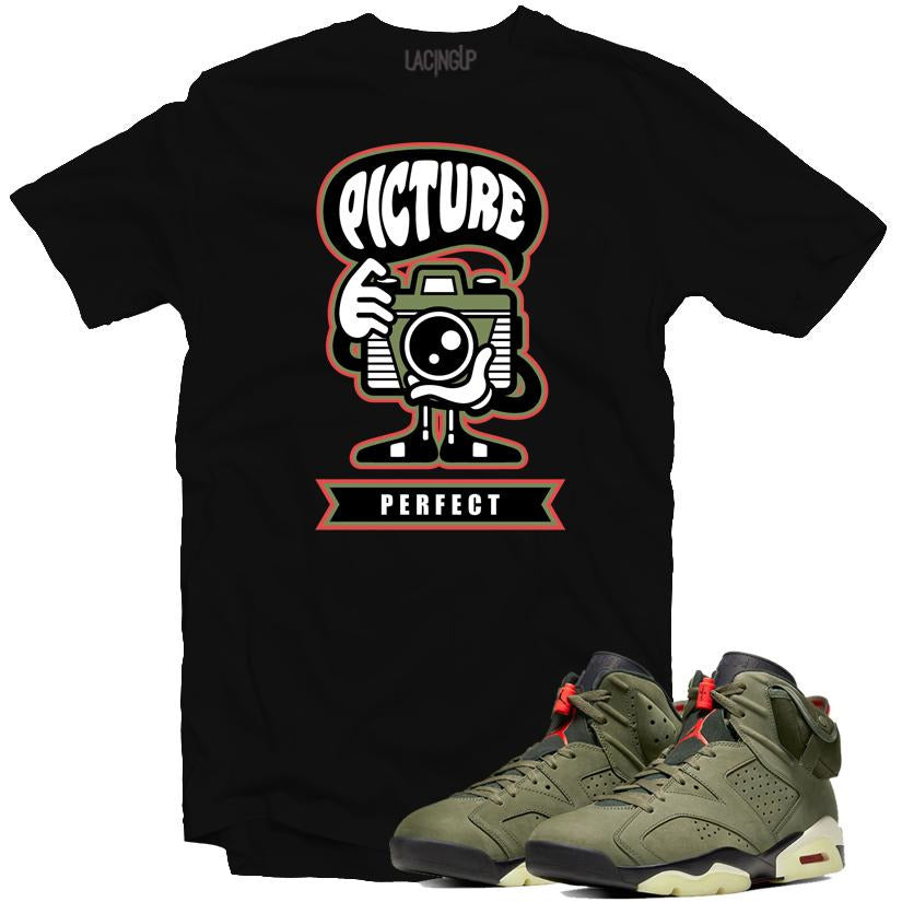 Jordan 6 travis scott picture perfect black tee-Lacing Up