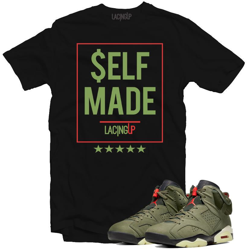 Jordan 6 travis scott self made black tee-Lacing Up