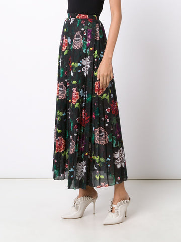 Cotton-Voile Floral Pleated Skirt