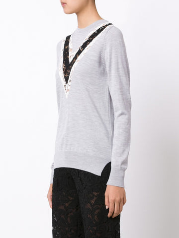 Merino Wool with Lace Crewneck