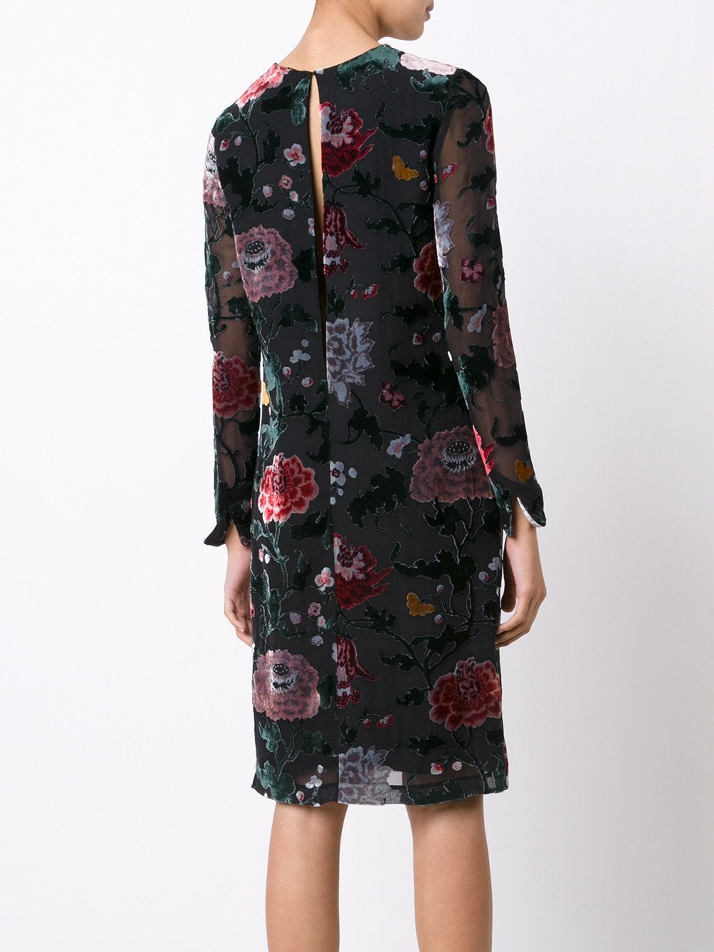 Devoré Floral Long Sleeve Velvet Dress