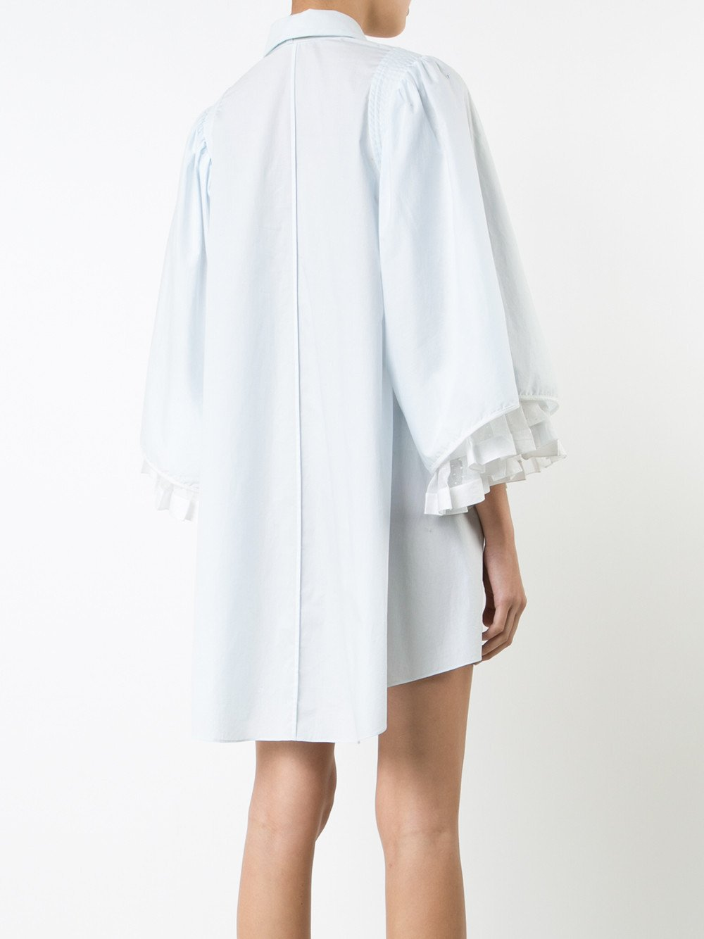 Poplin and Lace Dress with Full Sleeves