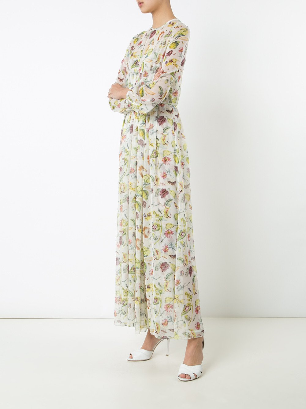 Floral Silk Chiffon Waisted Dress