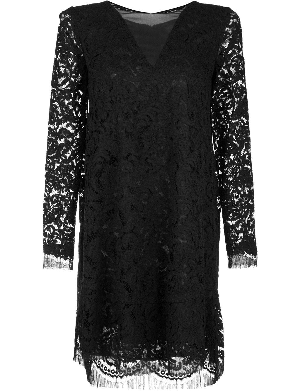 Cotton & Corded Lace Trapeze Dress with Sheer Chiffon