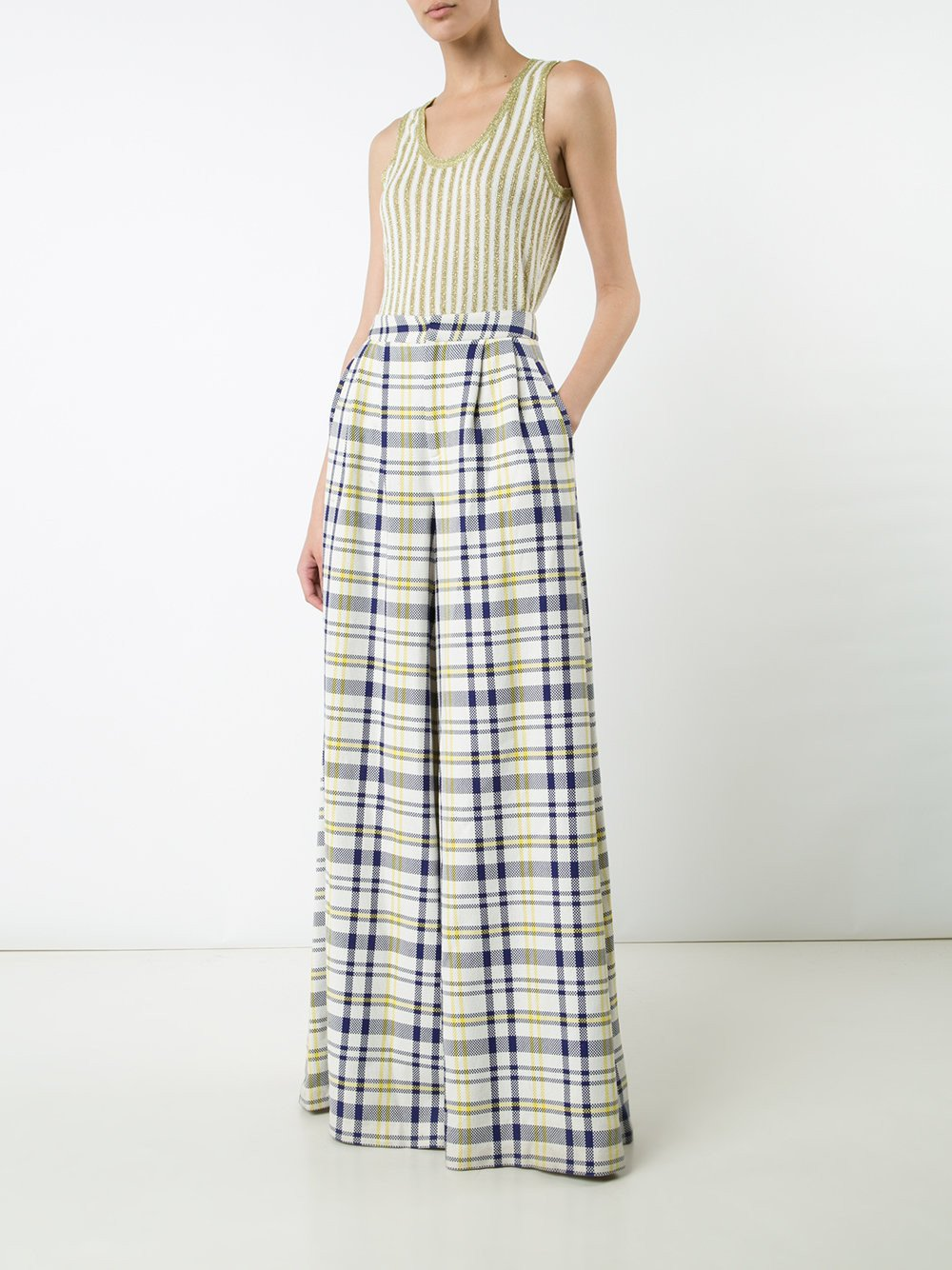 Plaid Cotton Wide Leg Pant