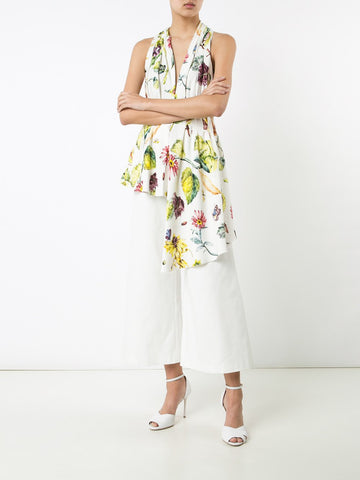Floral Satin Back Crepe Gathered Halter