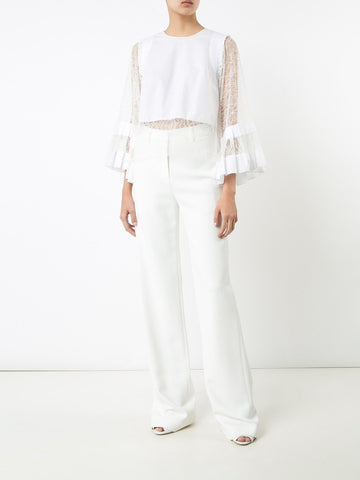 Cotton Poplin & Chantilly Lace Blouse with Full Sleeves