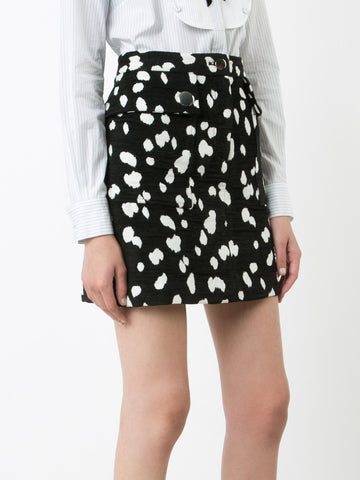 Dalmatian Cotton Jacquard Skirt with Flounce