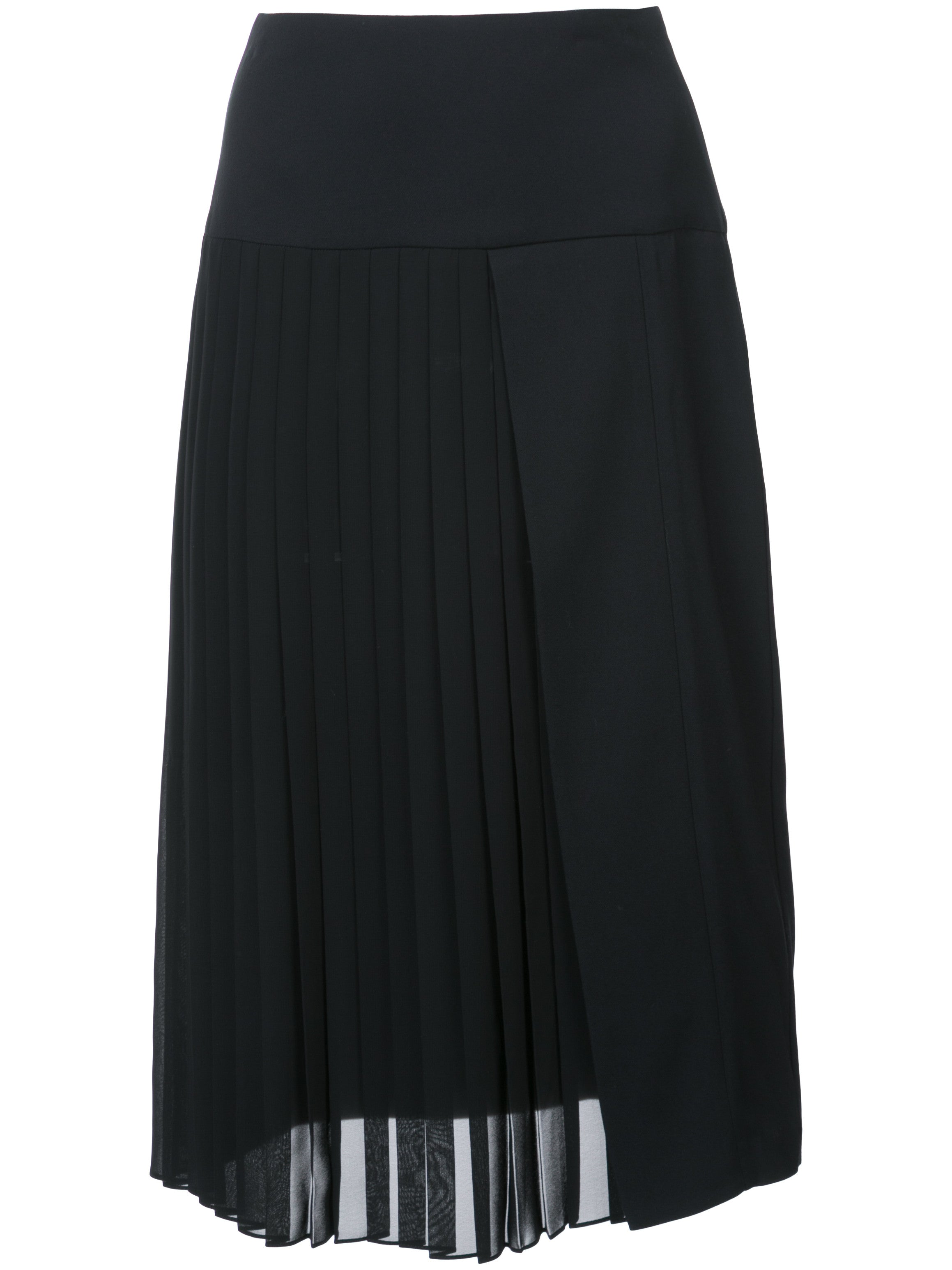Satin Back Crepe Pleat Front Skirt