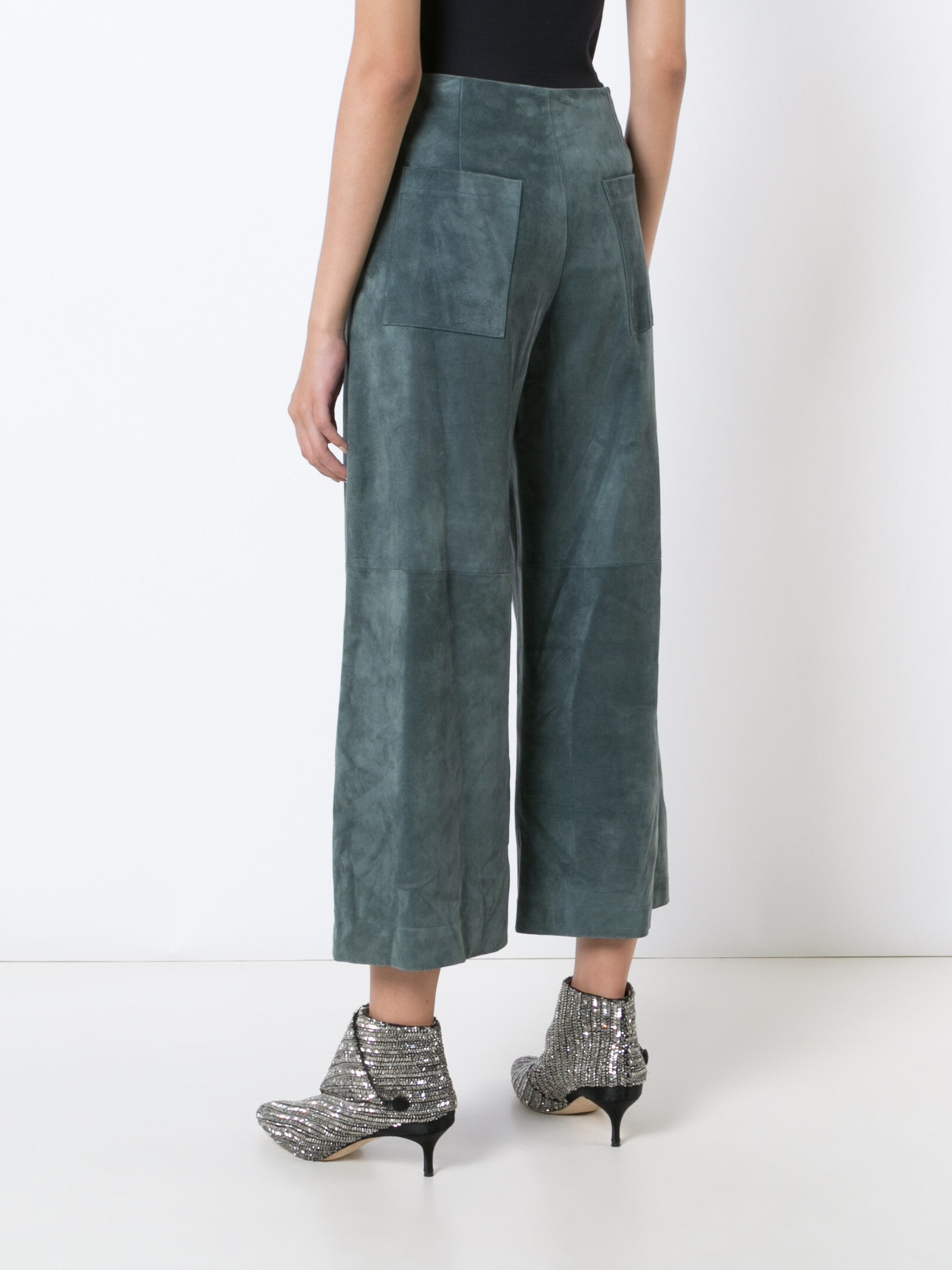 Suede Flat Front Cropped Culotte