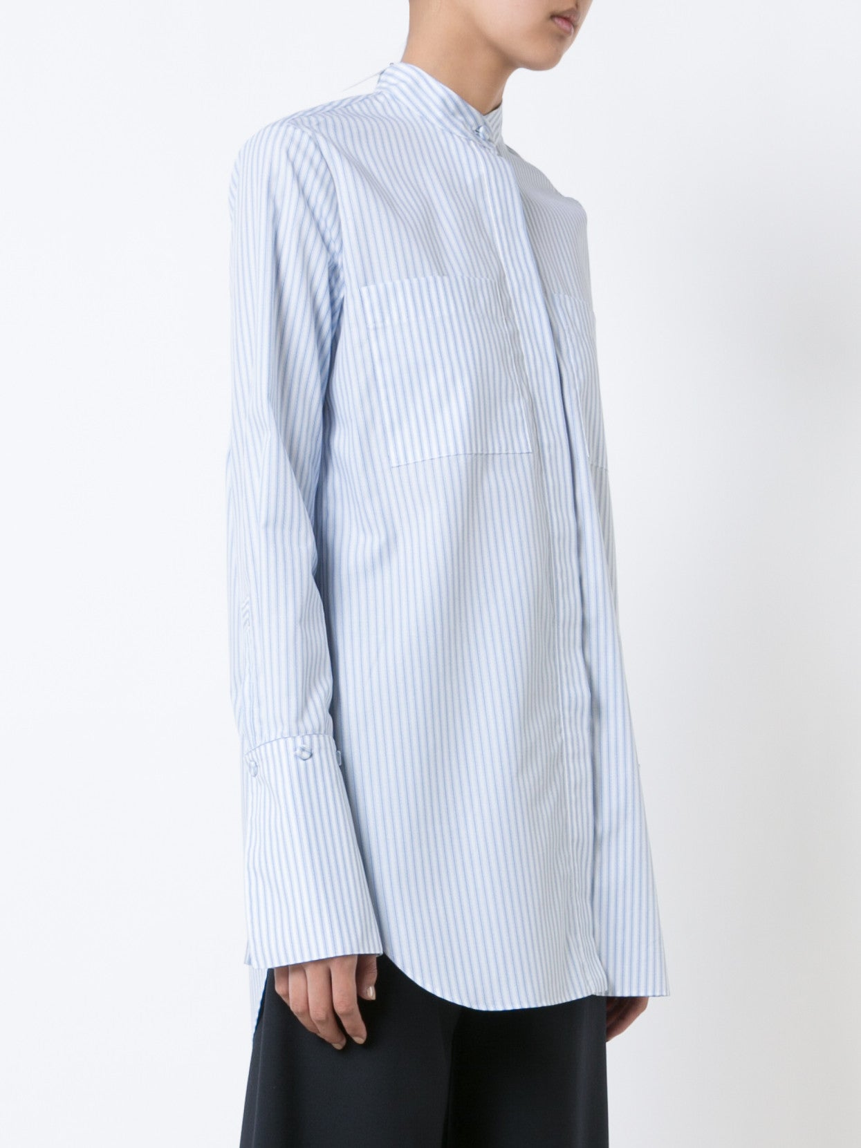Stripped Cotton Blouse with Stand Collar